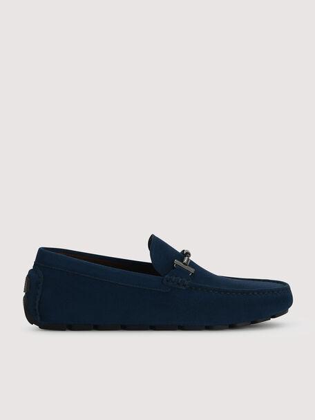 Calf Suede Loafers, Navy, hi-res