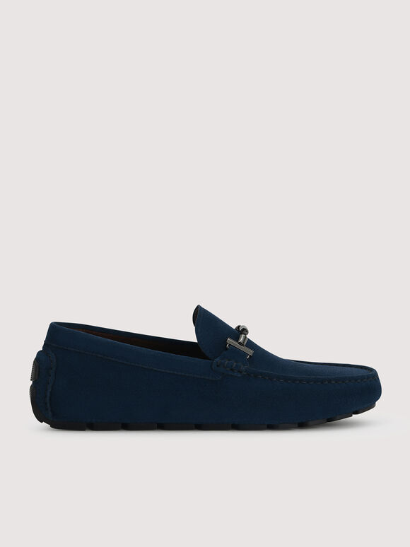 Calf Suede Loafers, Navy, hi-res