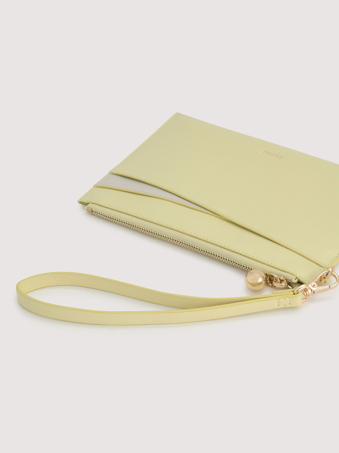 Duo Tone Leather Wristlet, Light Green, hi-res