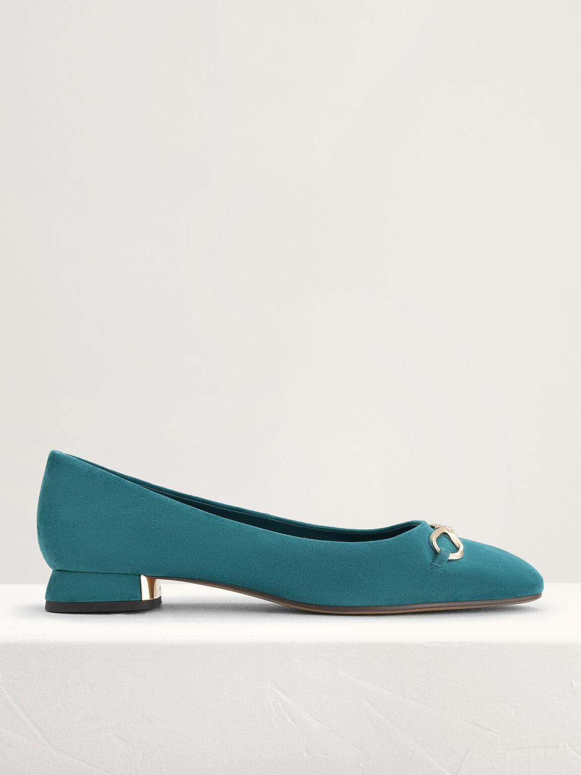 Suede Leather Ballerina Flats, Teal, hi-res