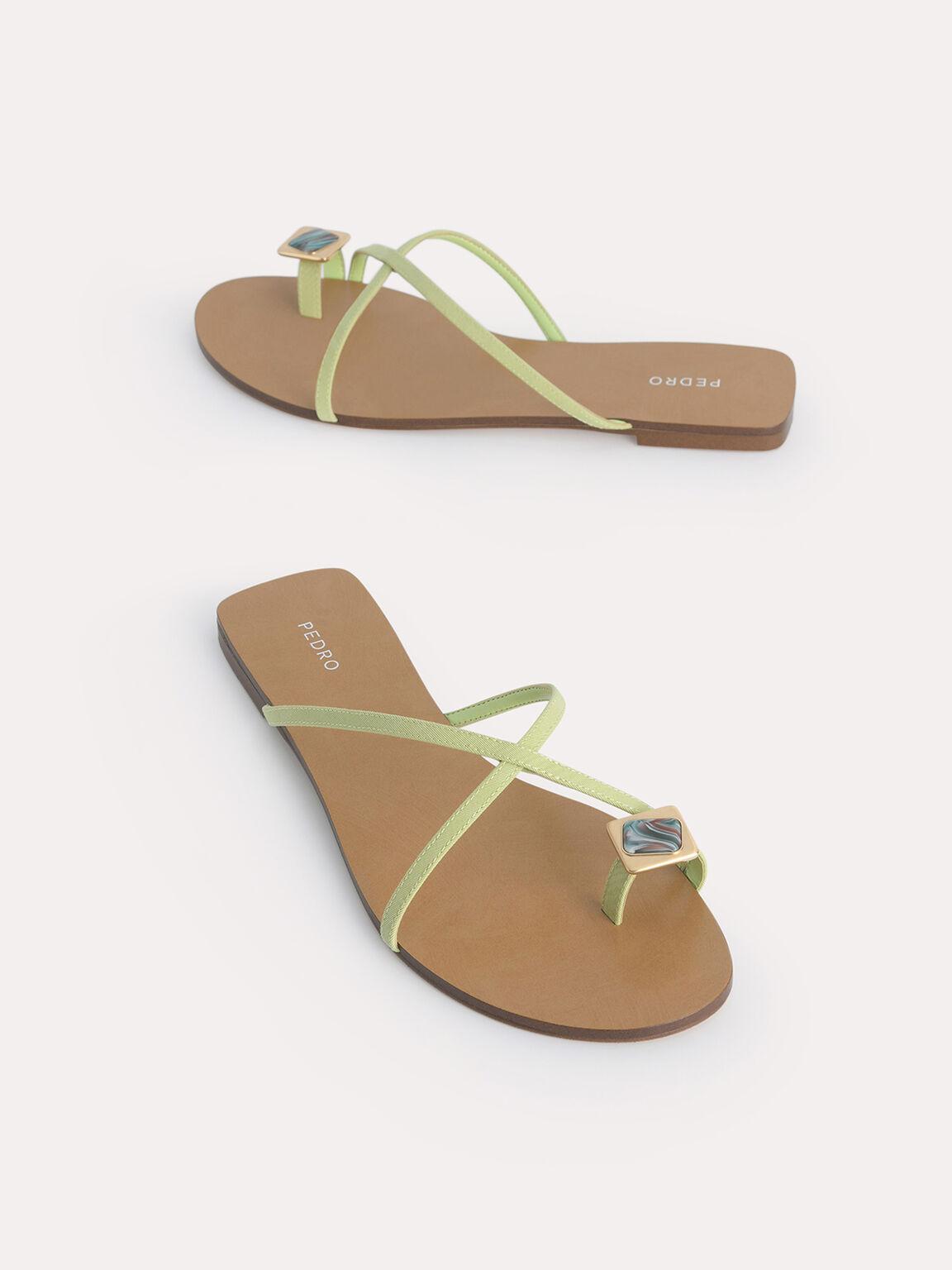 Marbled Toe Loop Sandals, Light Green, hi-res