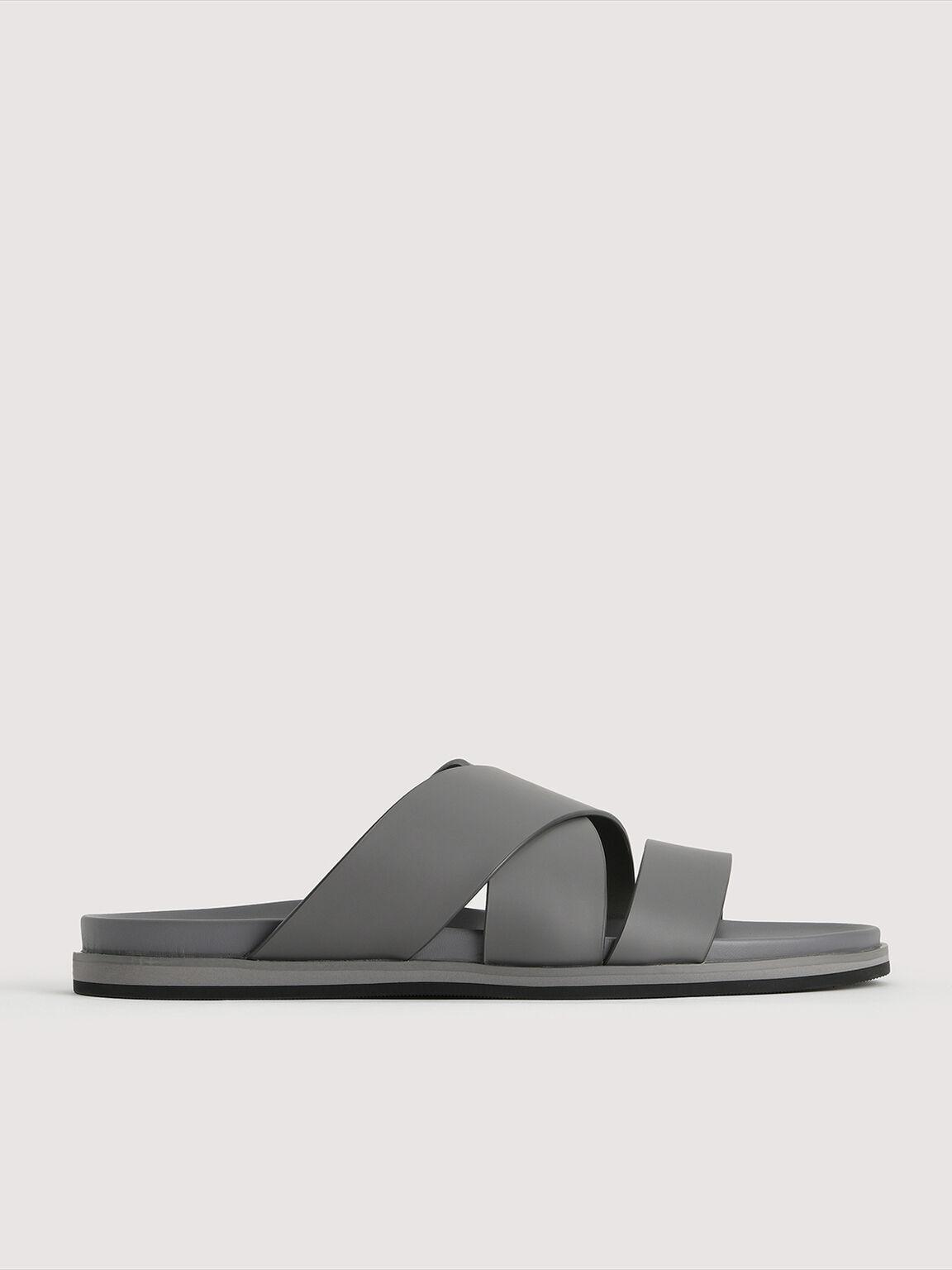 Double Strap Criss Cross Slides, Grey, hi-res