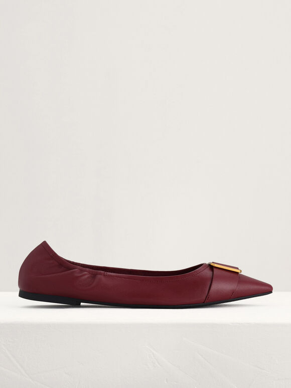 Gold Buckled Leather Flats, Wine, hi-res