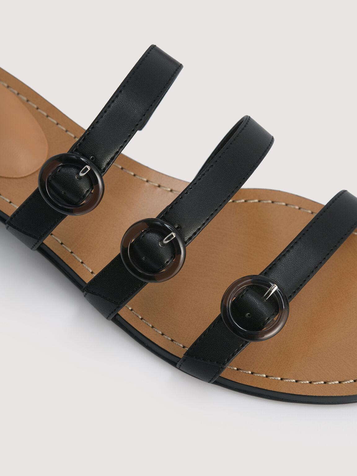 Buckled Strapped Sandals, Black, hi-res