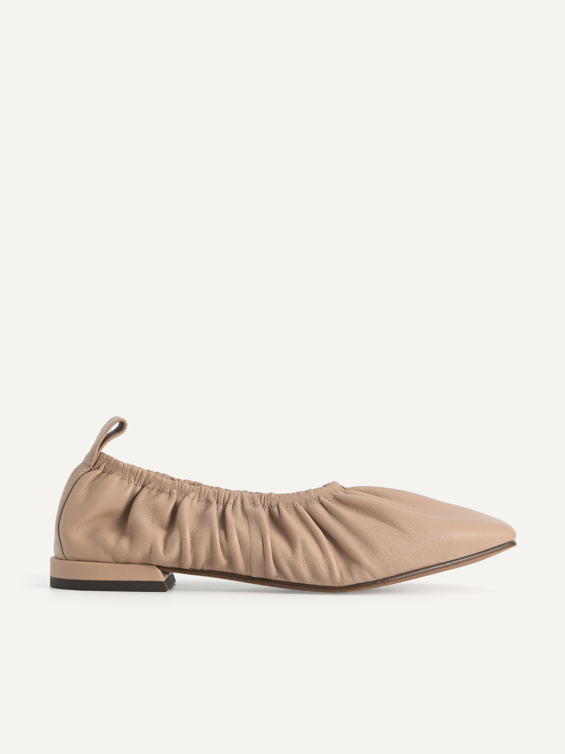Ruched Leather Flats, Taupe, hi-res