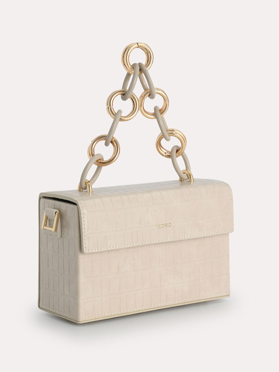Croc-Effect Boxy Shoulder Bag, Nude, hi-res