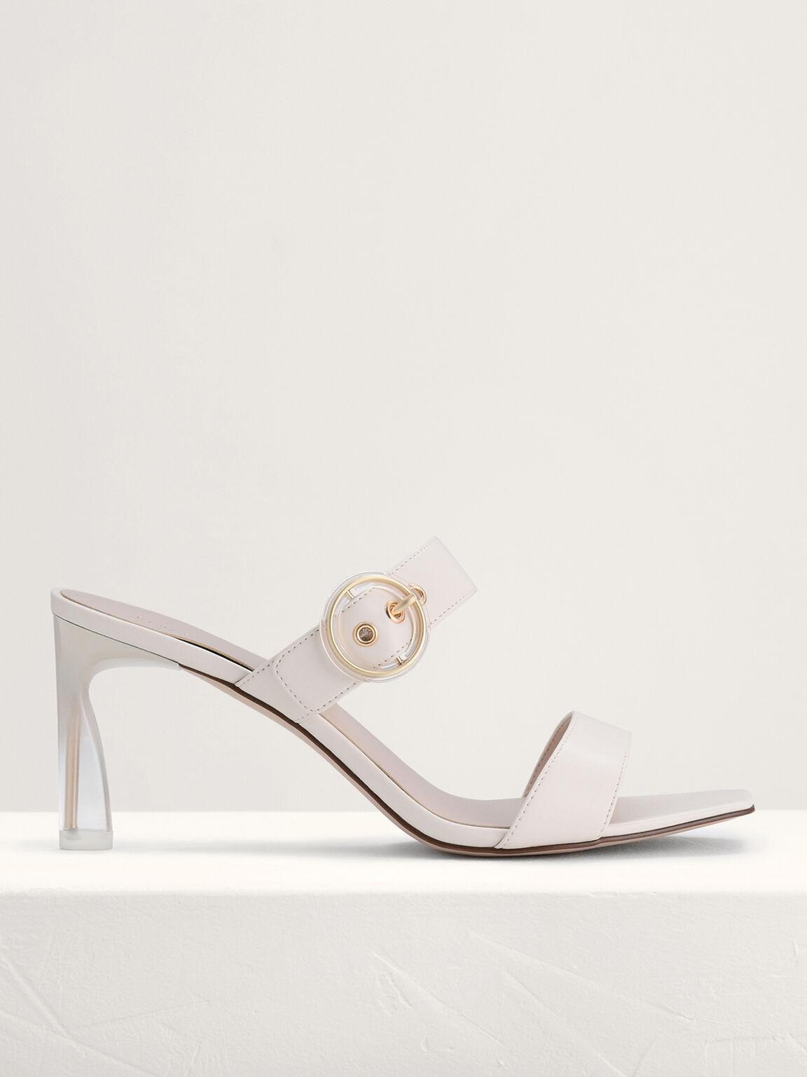 Buckled Heeled Sandals, Cream, hi-res