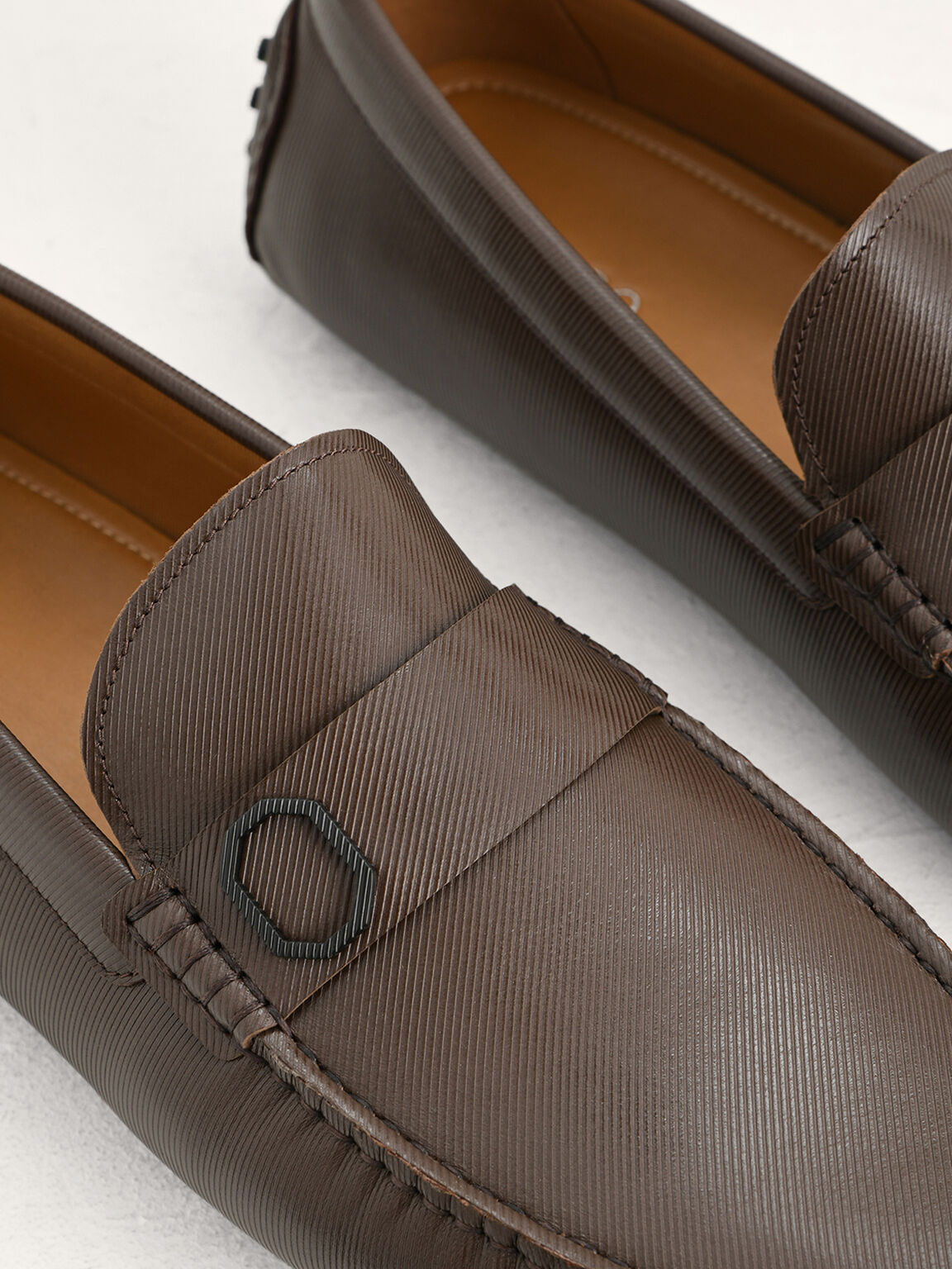 Embossed Leather Moccasins with Octagon Hardware, Dark Brown, hi-res