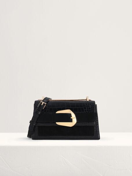 Buckled Croc-Effect Shoulder Bag, Black, hi-res