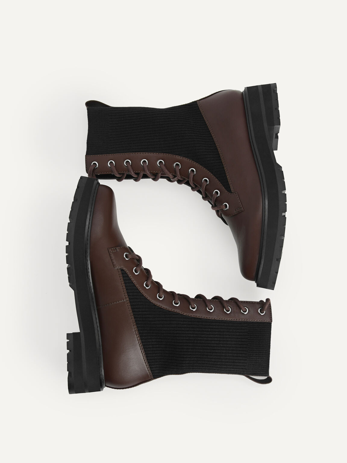 Chunky Lace-up Boots, Dark Brown, hi-res