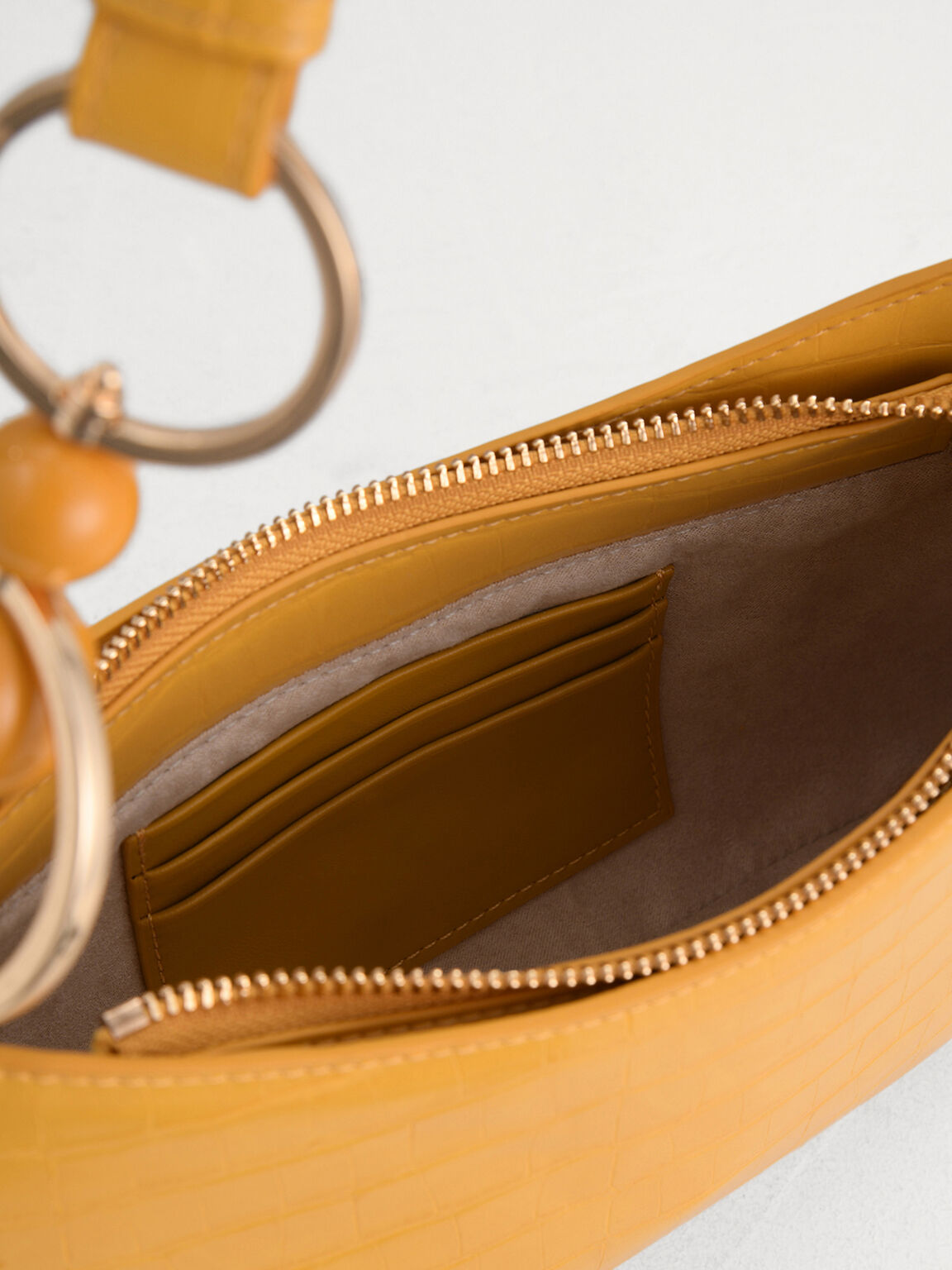 acrylic Embellished Croc-Effect Shoulder Bag, Yellow, hi-res