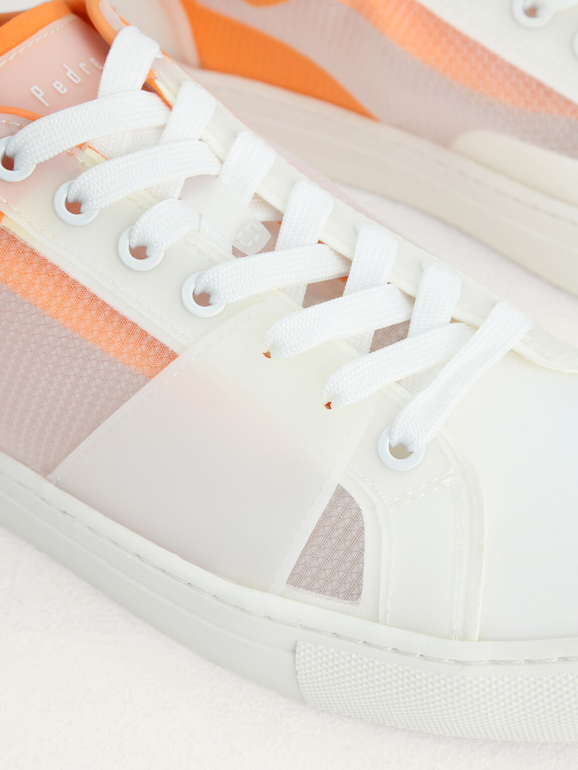 Mesh Court Sneakers in Two-Tone, White, hi-res