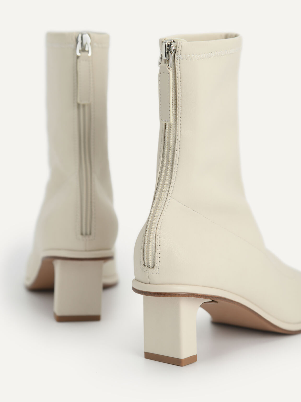 Heeled Ankle Boots, Chalk, hi-res