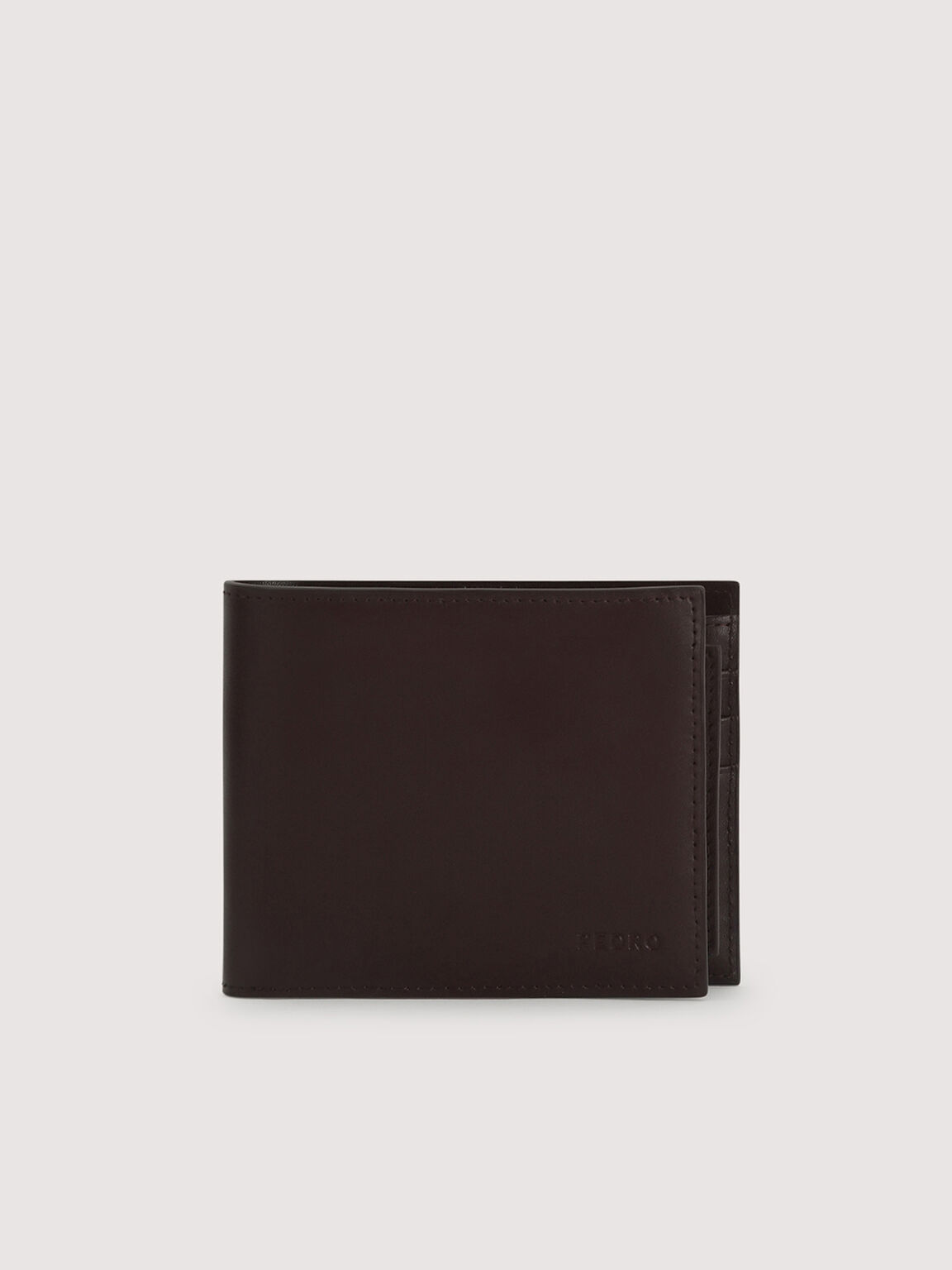 Leather Bi-Fold with Insert, Dark Brown, hi-res