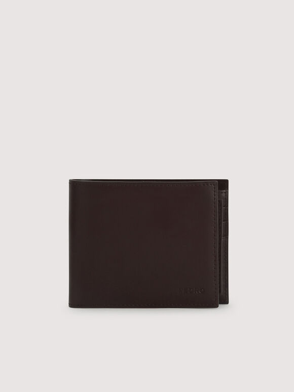 Leather Bi-Fold with Insert, Dark Brown, hi-res