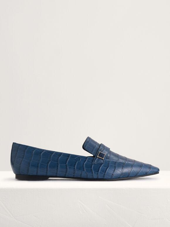 Croc-Effect Embellished Leather Flats, Navy, hi-res