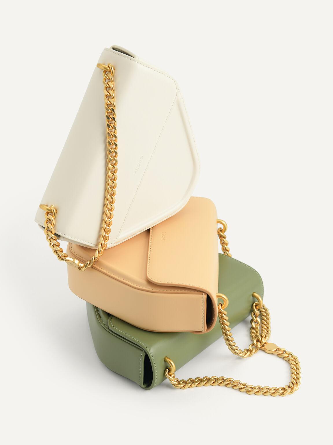 Mini Triangular Chain Shoulder Bag, Nude, hi-res