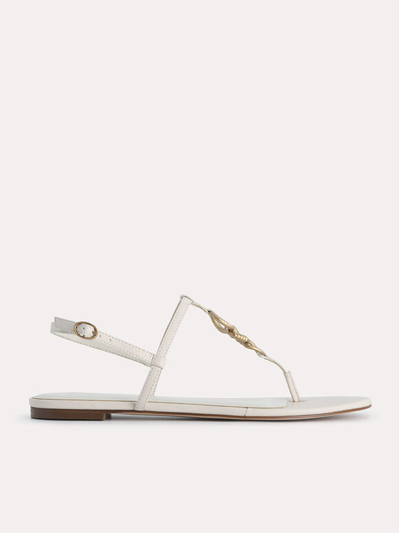 Strappy Sandals with Gold Links, Chalk, hi-res