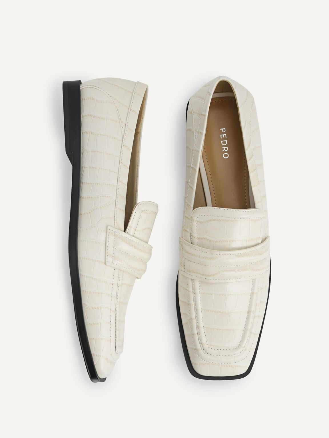 Croc-Effect Leather Loafers, Chalk, hi-res