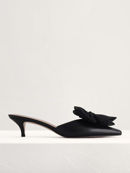 Bow Leather Heeled Mules, Black, hi-res