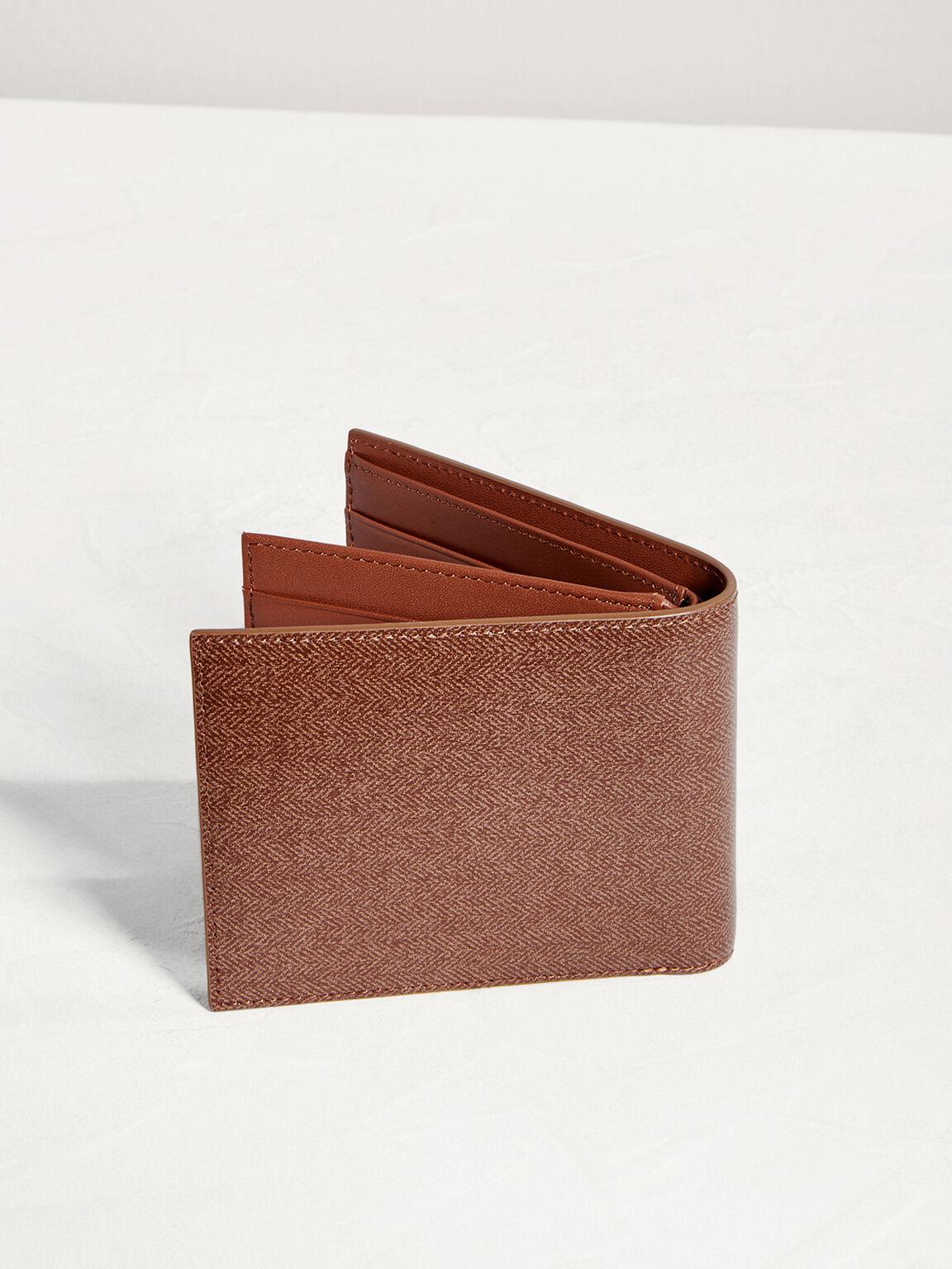 Leather Bi-Fold Flip Wallet, Light Brown, hi-res