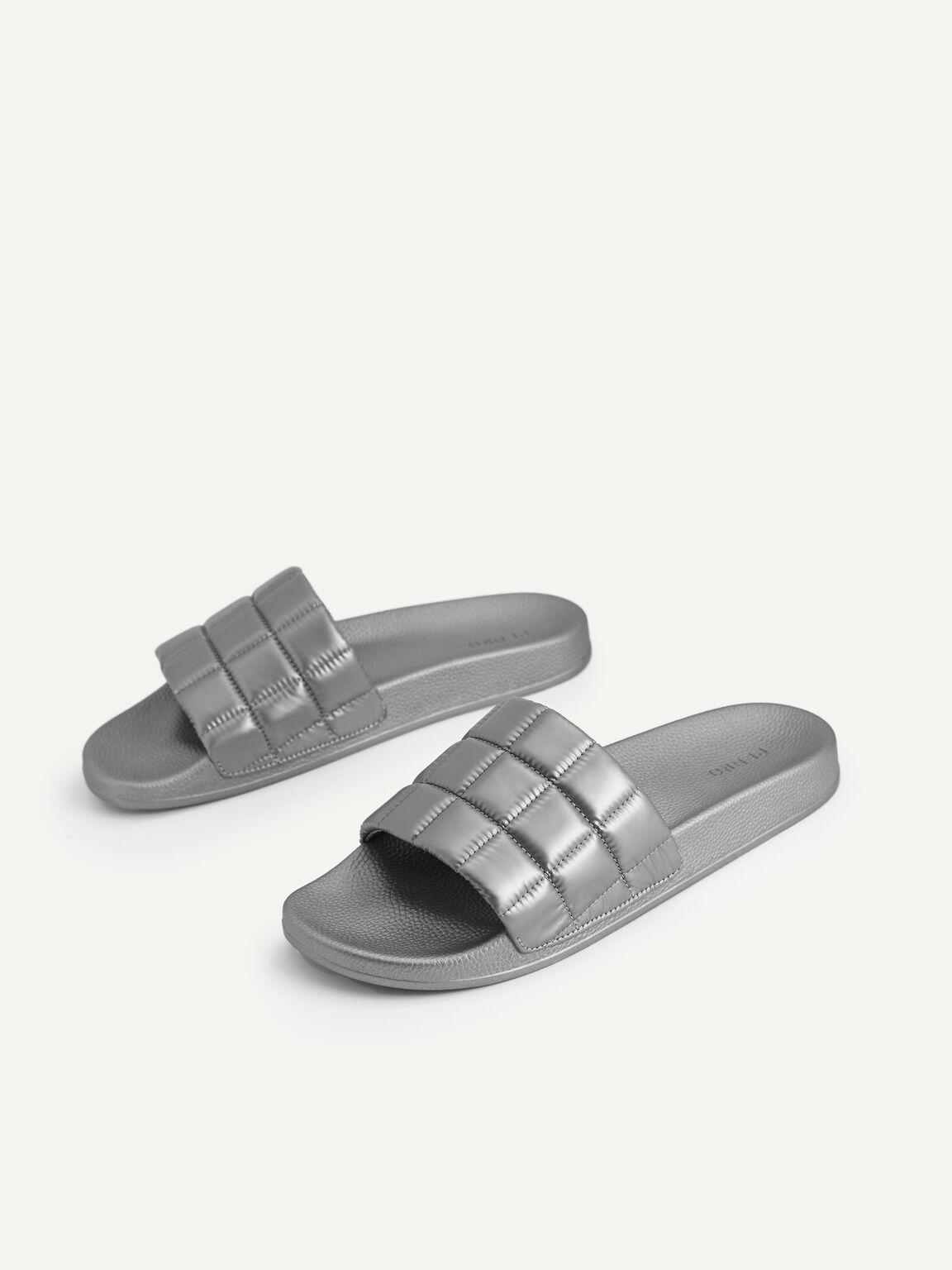 Quilted Slides, Grey, hi-res