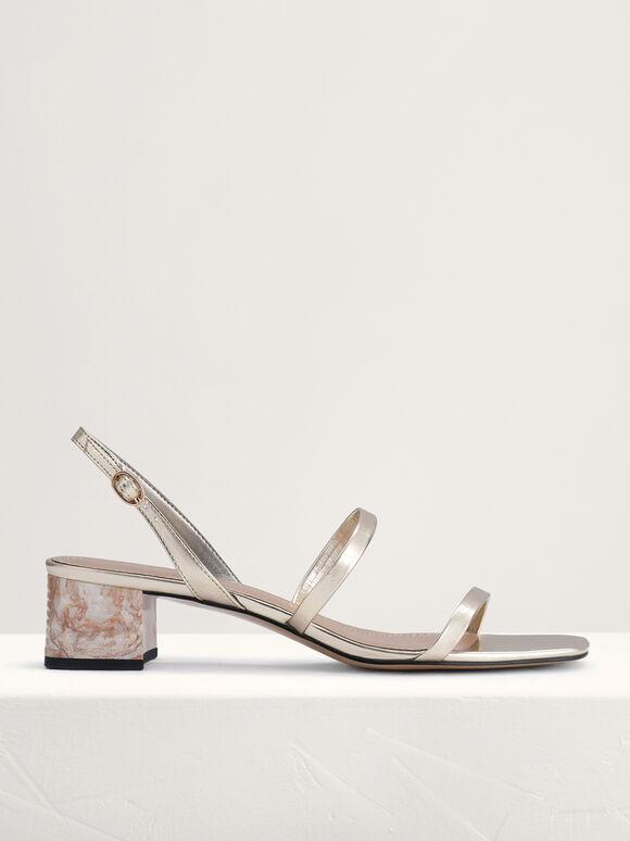 Square Toe Heeled Sandals, Light Gold, hi-res