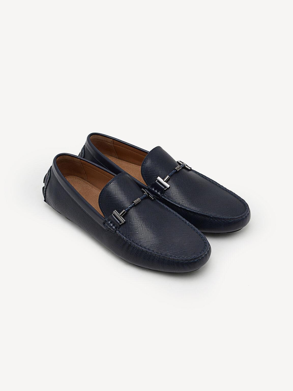Leather Moccasins, Navy, hi-res