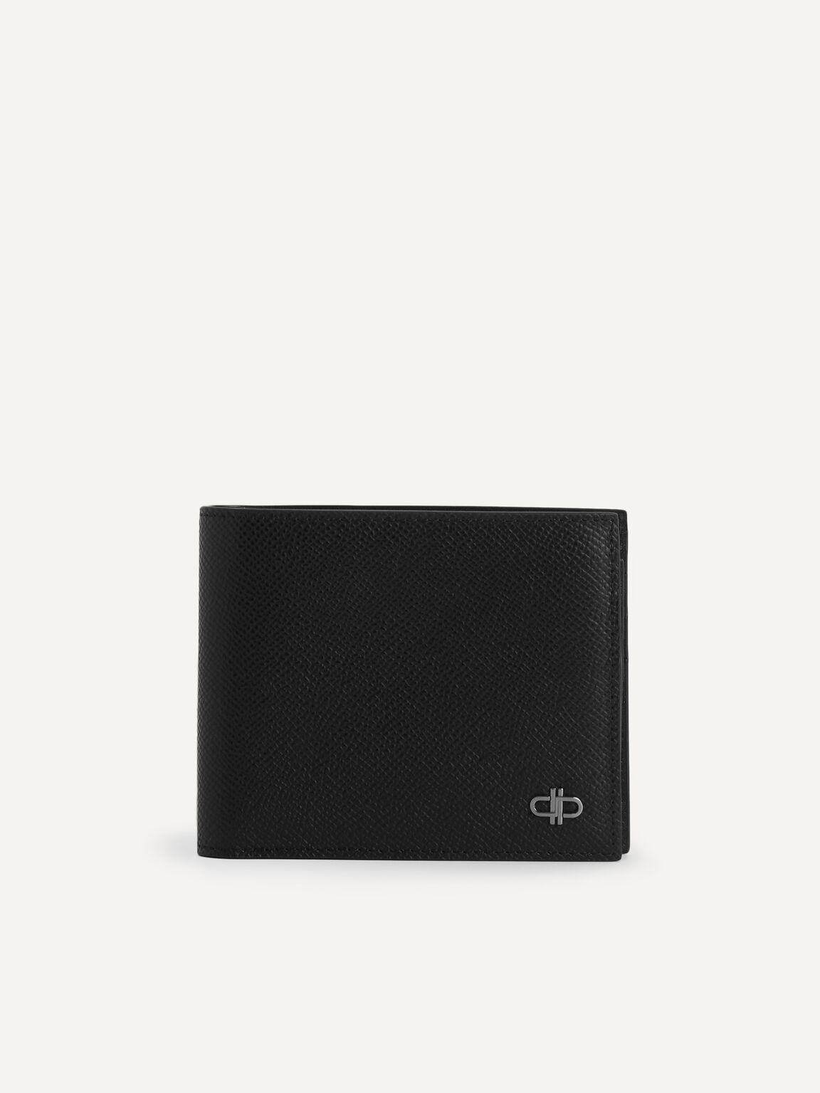 Icon雙折疊帶內袋皮革錢包, 黑色, hi-res