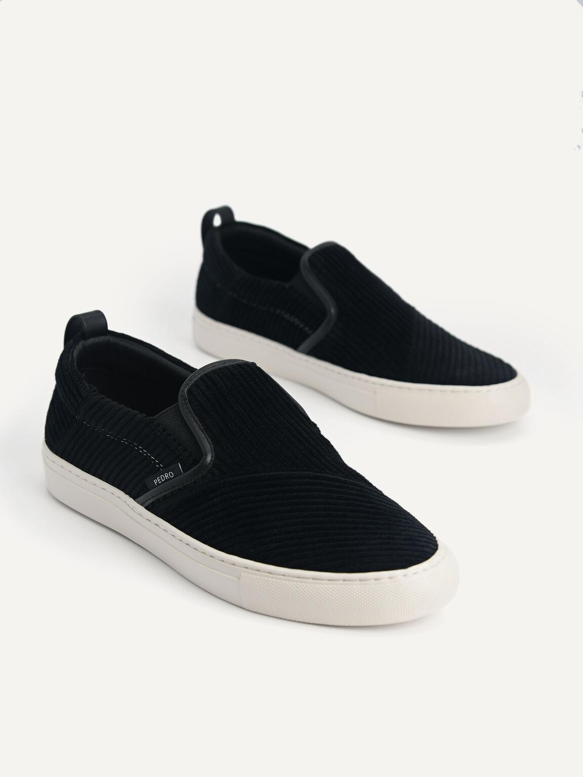 Corduroy Slip-On Sneakers, Black, hi-res