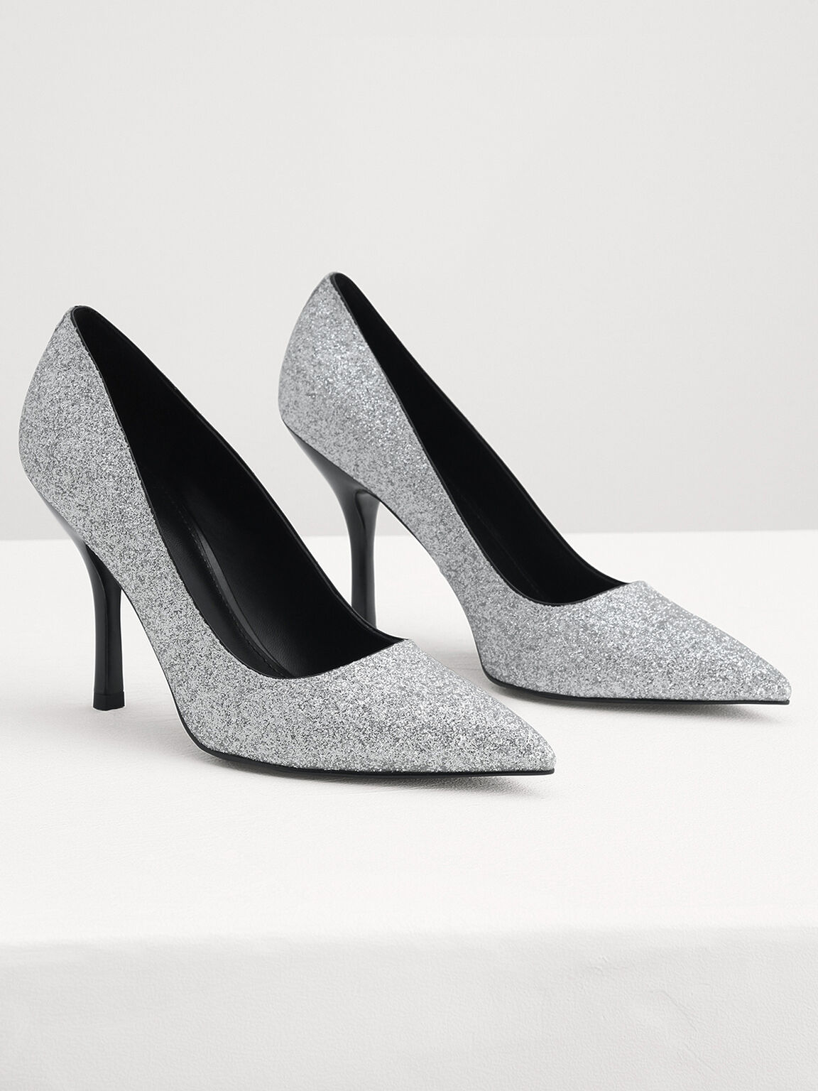 Glitter Leather Pointed Pump Heels, Silver, hi-res