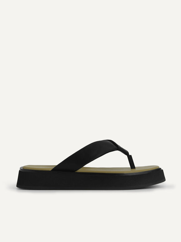 Thong Flatform Sandals, Black, hi-res