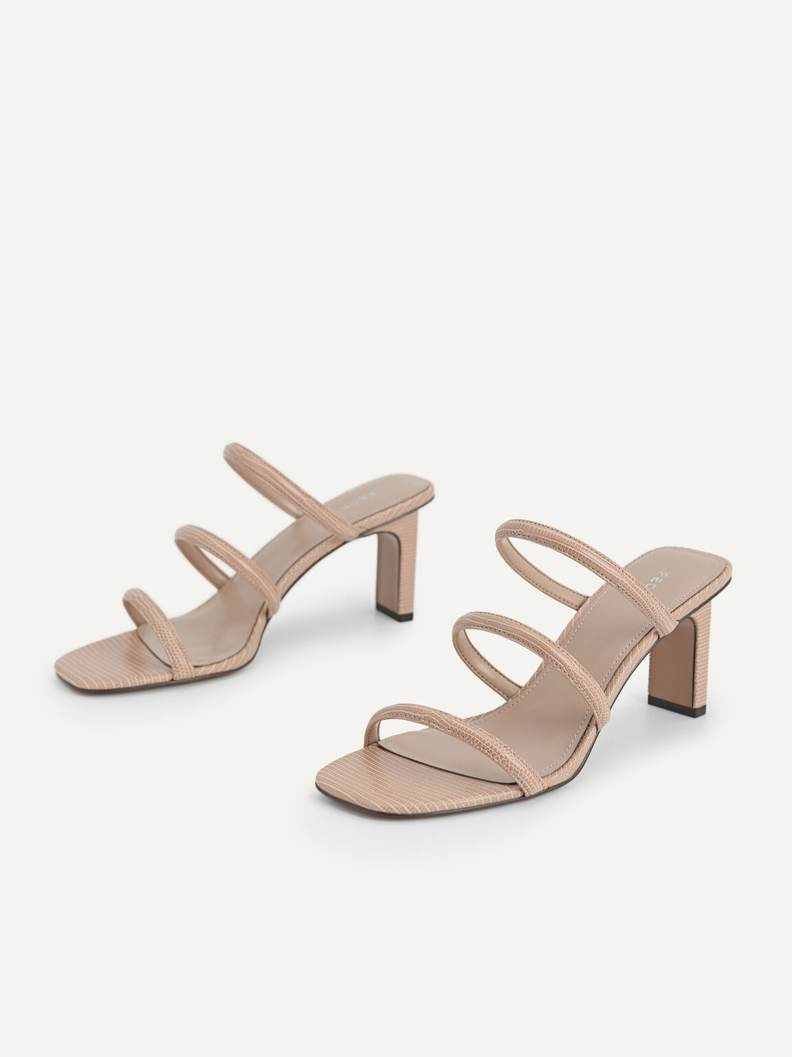 Strappy Heeled Lizard-Effect Sandals, Taupe, hi-res