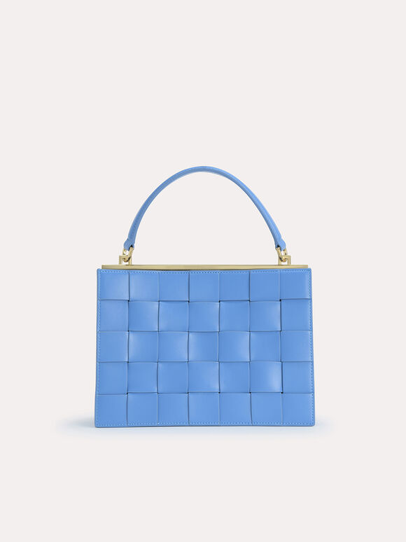 Woven Top Handle Bag, Blue, hi-res