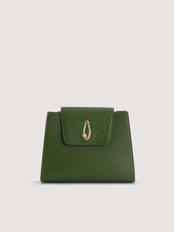 Leather Top Handle Bag with Pearl Strap, Dark Green, hi-res