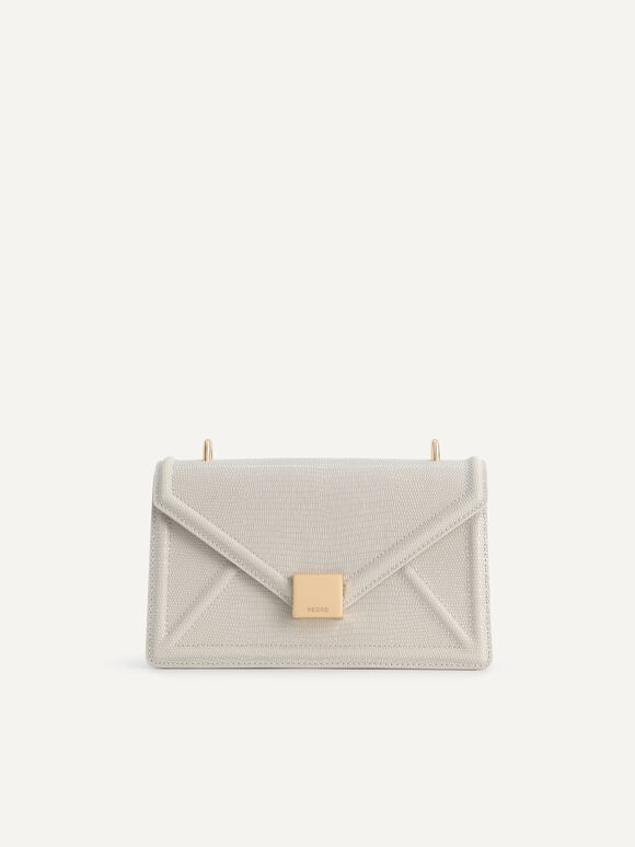 Lizard-Effect Leather Envelope Shoulder Bag, Taupe, hi-res