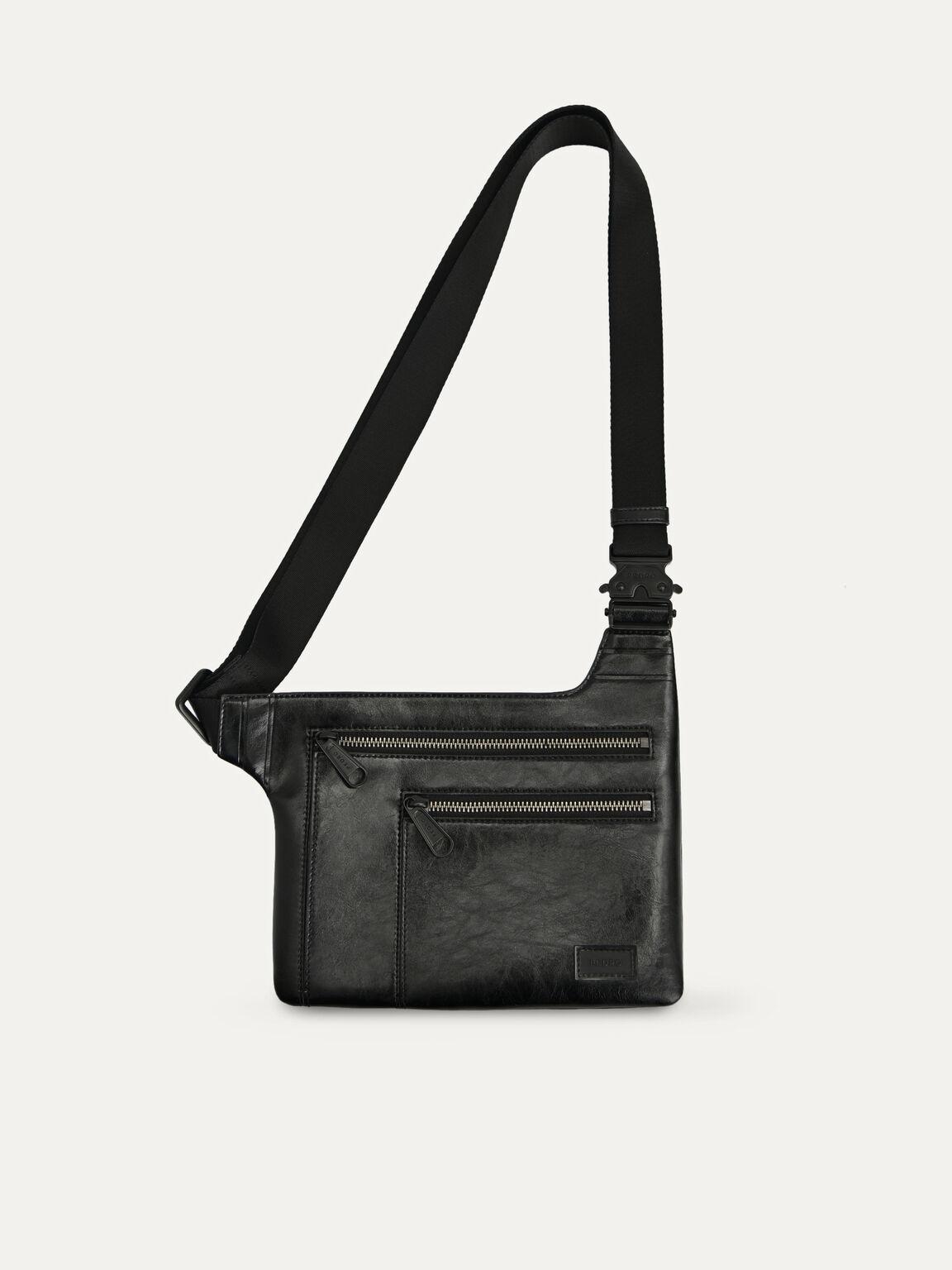 休閒斜挎包, 黑色, hi-res