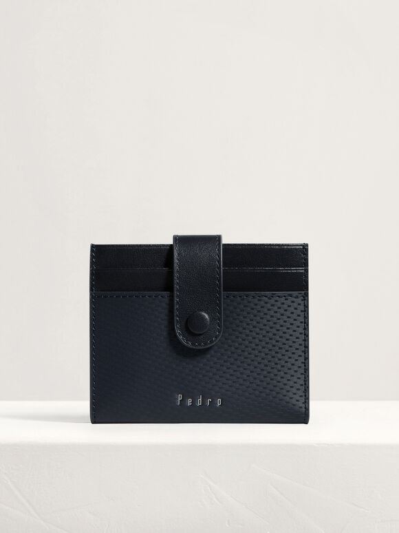 Leather Bi-Fold Card Holder, Navy, hi-res