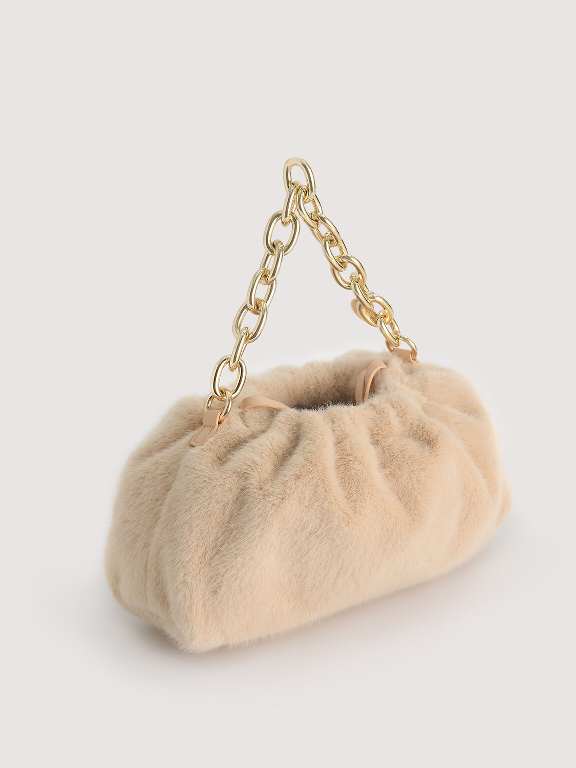 Faux Fur Ruched Clutch with Chain, Nude, hi-res