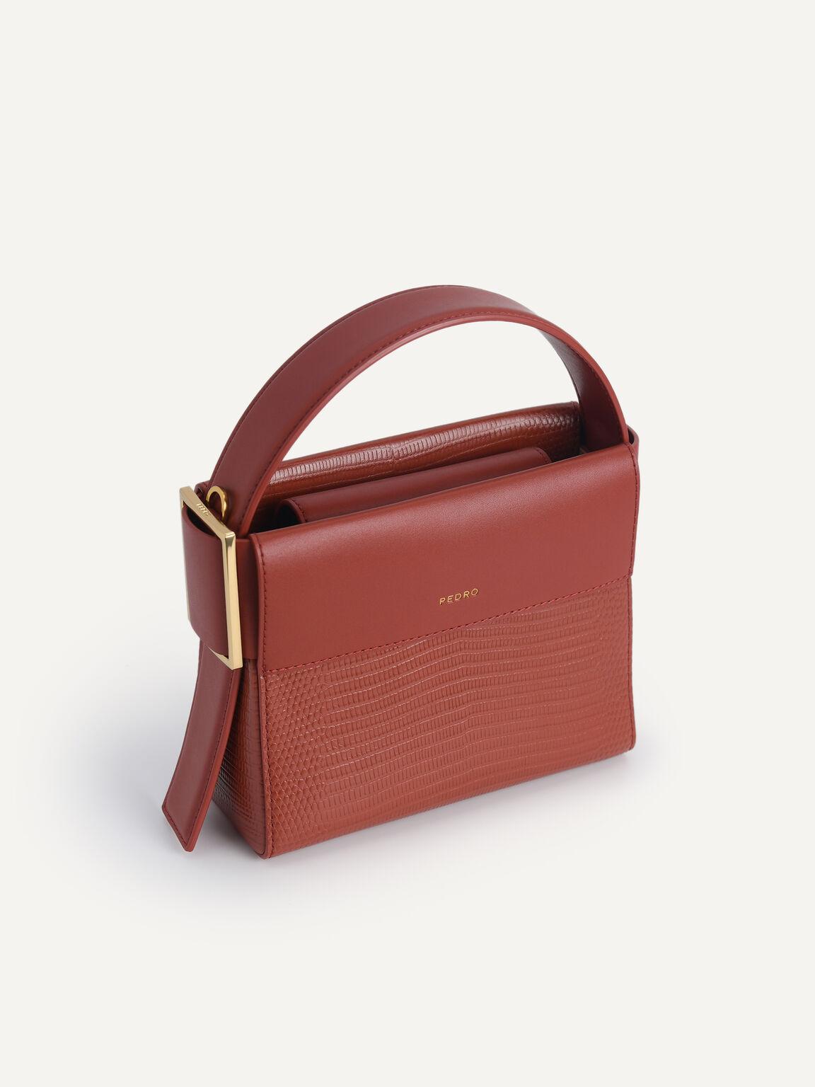 Lizard-Effect Leather Mini Bag, Brick, hi-res
