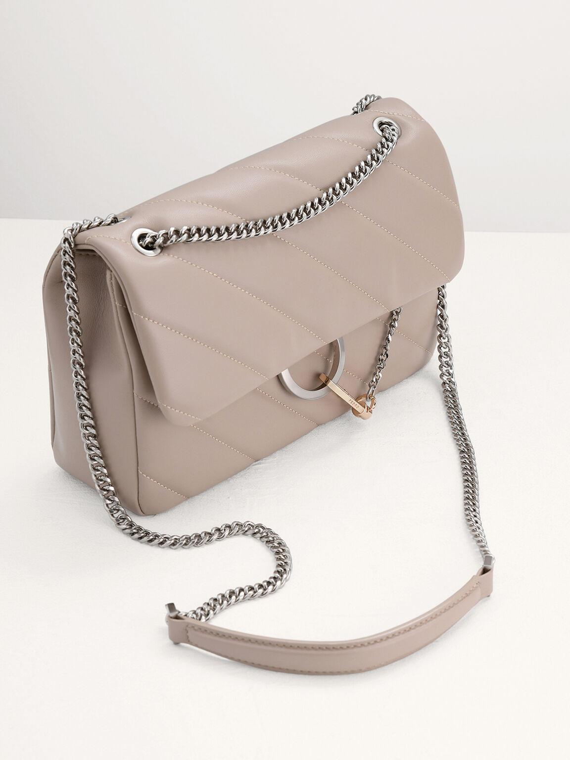 Qulited Shoulder Bag, Taupe, hi-res