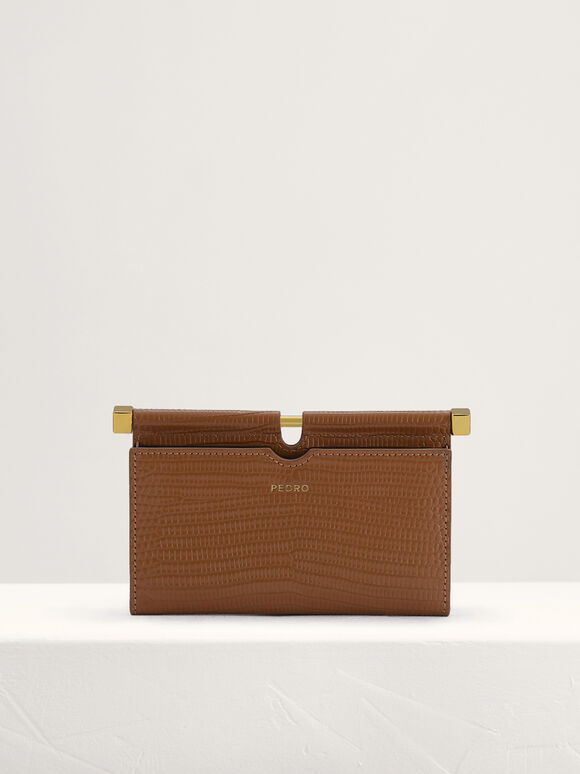 Lizard-Effect Leather Card Holder, Camel, hi-res