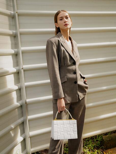 Woven Top Handle Bag, Chalk, hi-res