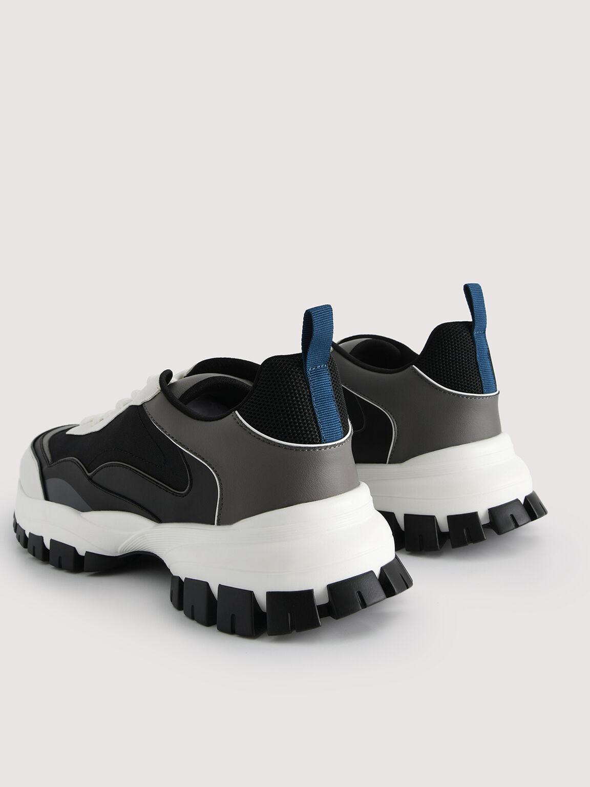 Contrasting Chunky Sneakers, Black, hi-res