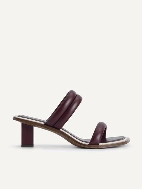 Double Strap Heeled Sandals, Mahogany, hi-res