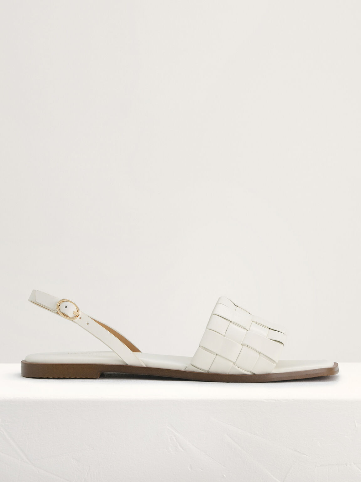 Braided Slingback Sandals, White, hi-res
