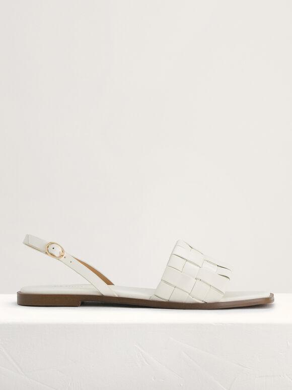 Braided Slingback Sandals, White, hi-res