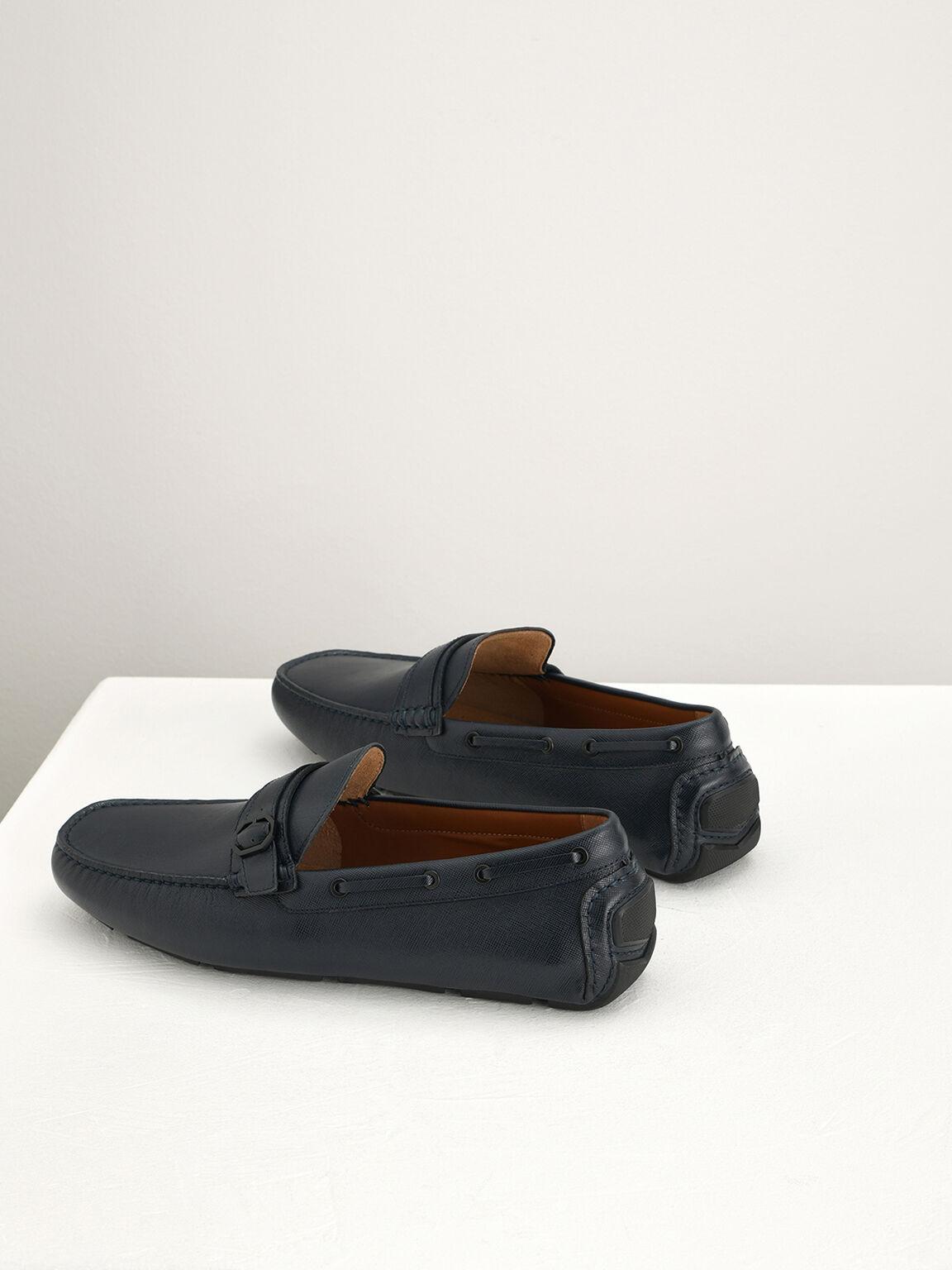 Buckled Leather Moccasins, Navy, hi-res
