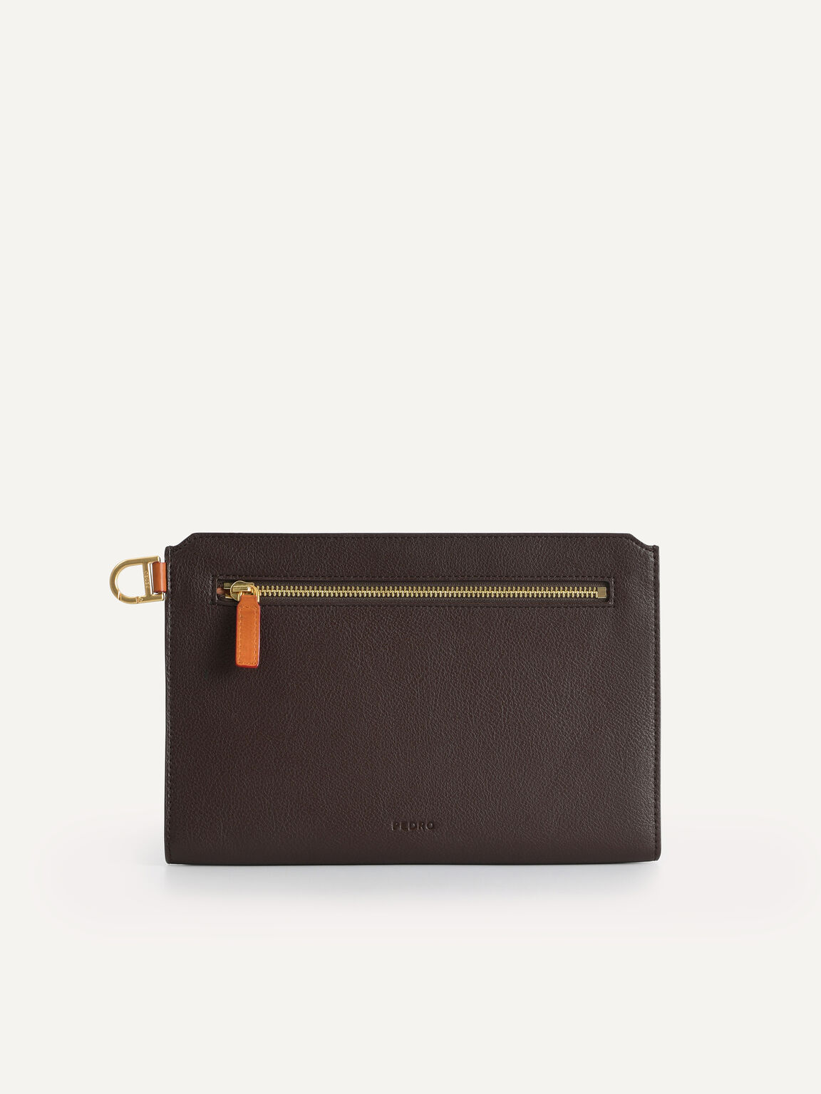 Textured Clutch with Keychain, Brown, hi-res