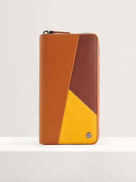 Colorblock Leather Long Wallet, Multi, hi-res